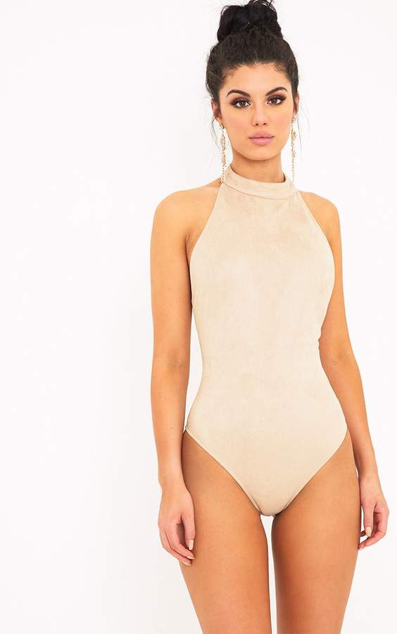 PrettyLittleThing Leigh Mink Suedette Backless Thong Bodysuit