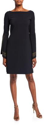 Chiara Boni Boat-Neck Embellished Split-Sleeve A-Line Dress