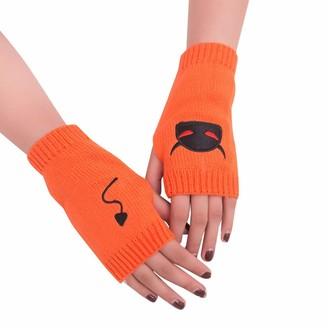 HUYURI Women Girl Knitted Arm Fingerless Warm Winter Gloves Soft Warm Mitten Orange