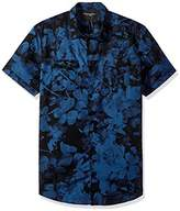 Calvin Klein Jeans Men's Short Sleeve Floral Shadow Print Button Down Shirt