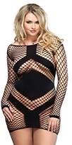 Leg Avenue Women's Plus-Size Diamond Net Long-Sleeved Mini Dress