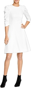 Halston Draped-Sleeve Dress