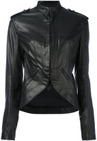 Haider Ackermann military-style leather jacket - women - Leather/Cotton/Rayon - 38