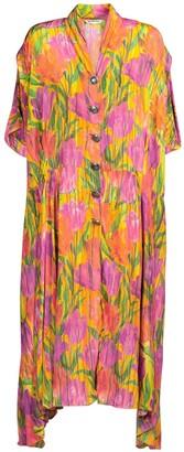 Balenciaga Oversized tulip print silk crepe dress
