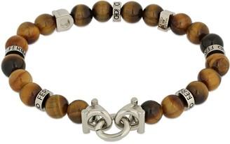 Salvatore Ferragamo 19cm Gancio & Tiger Eye Beads Bracelet