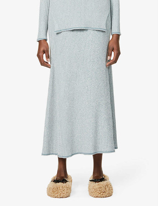 Theory Mouline high-waist stretch-woven midi skirt
