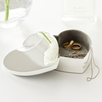 The White Company Silver Plated Heart Box, Silver, One Size