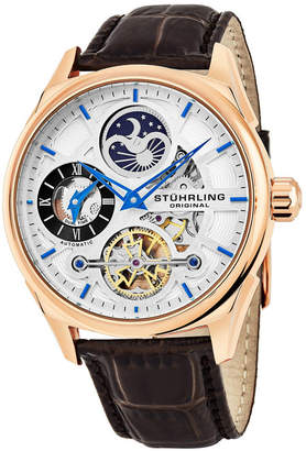 Stuhrling Original Men Automatic Skeletonzied Dual Time Watch, Rose Tone Case on Brown Alligator Embossed Genuine Leather Strap, Silver Tone and Rose Tone Dial, With Blue, Gray, Black, and Rose Tone Accents