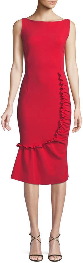Chiara Boni Tera Shirred Sleeveless Cocktail Dress