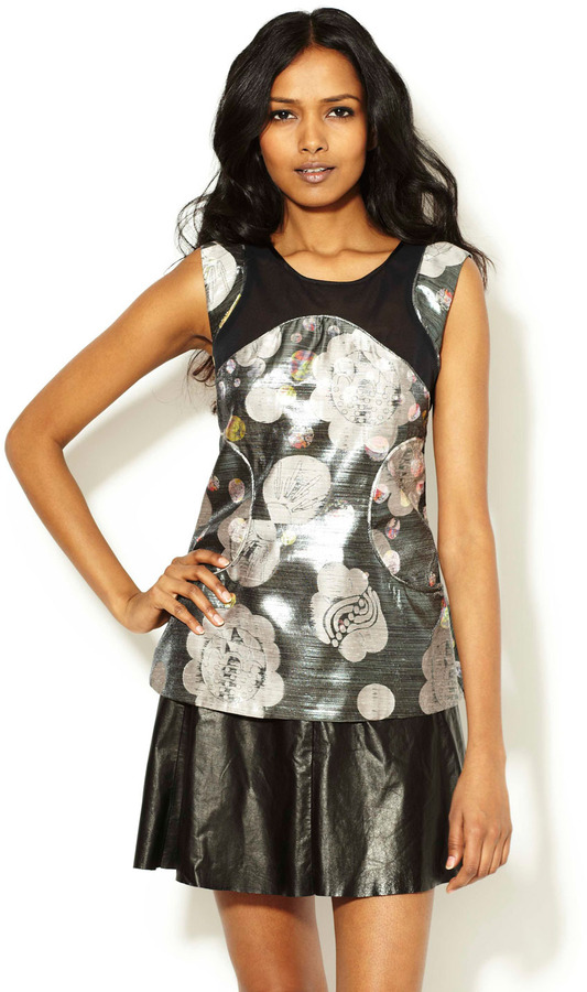 Cynthia Rowley Printed Metallic Shell Top