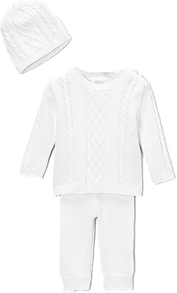 Baby Mode Signature Casual Pants WHITE - White Cable-Knit Sweater Set - Newborn & Infant