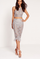 Missguided All Over Lace Feather Hem Skirt Grey