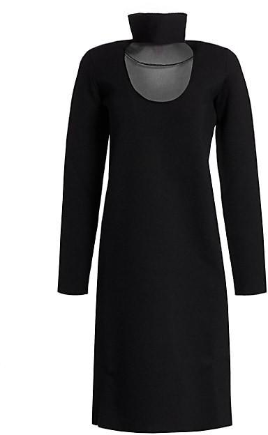 Bottega Veneta Stretch-Crepe Cutout Turtleneck Dress