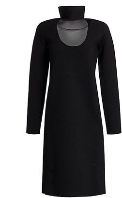 Bottega Veneta Stretch-Crepe Cutout Turtleneck Dress