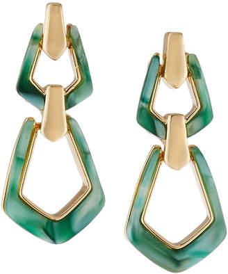 Max Studio Double Door-Knocker Earrings, Green