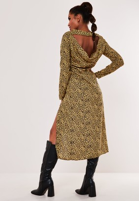 Missguided Yellow Leopard Open Back Cowl Midi Dress