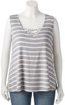 Living Doll Juniors' Plus Size Knit Cross Front Tank