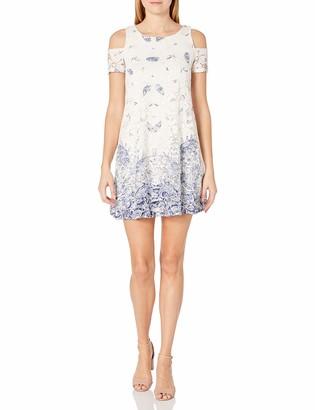Robbie Bee Women's Printed Lace Cold Shoulder Trapzeze Dress