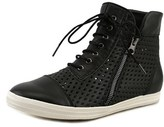 All Black Hi-top Perf Women Round Toe Leather Sneakers.