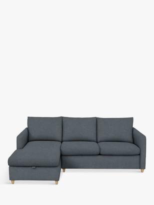 John Lewis & Partners Bailey LHF Chaise End Sofa Bed, Light Leg, Hatton Steel