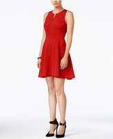 Bar III Zip-Front Fit & Flare Scuba Dress, Only at Macy's