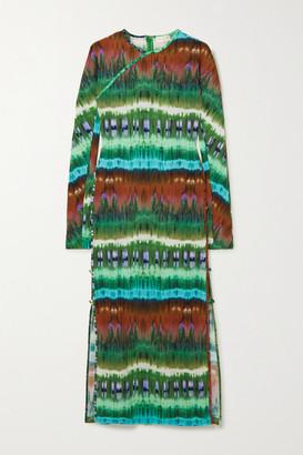 MARCIA Tchikiboum Cutout Tie-dyed Stretch-jersey Midi Dress - Green