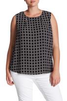 Susina Sleeveless Zip Back Shell Blouse (Plus Size)