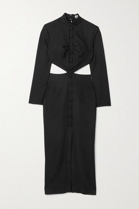 MATÉRIEL Cutout Woven Midi Dress - Black