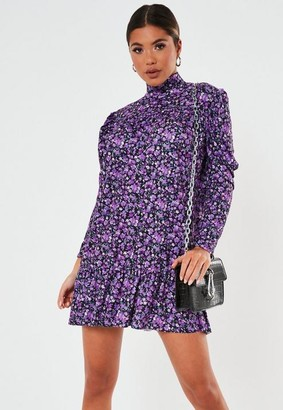 Missguided Purple Floral High Neck Smock Dress
