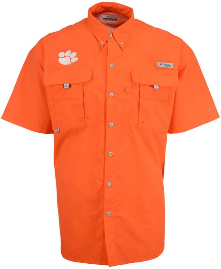 Columbia Men Clemson Tigers Bahama Short Sleeve Button Up Shirt