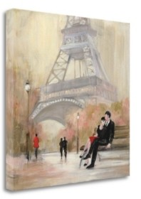 """Tangletown Fine Art Romantic Paris I Red Jacket by Julia Purinton Giclee on Gallery Wrap Canvas, 35"""" x 35"""""""