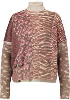 Just Cavalli Printed Wool-Blend Turtleneck Sweater