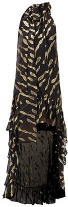 Taller Marmo La Boheme Pussy-bow Silk-blend Dress - Black Gold