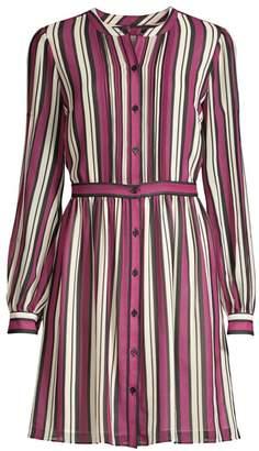MICHAEL Michael Kors Striped Long-Sleeve Shirtdress