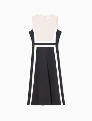Calvin Klein Colorblock Sleeveless Fit + Flare Dress