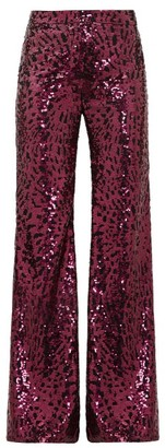 Halpern Sequinned Wide-leg Trousers - Fuchsia