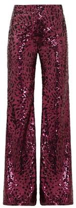 Halpern Sequinned Wide-leg Trousers - Womens - Fuchsia