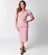 Stop Staring 1940s Style Pink & Black Dot Elnora Wiggle Twin Set