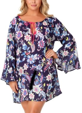 Anne Cole Trendy Plus Size Holiday Paisley Bell-Sleeve Tunic Cover-Up Women's Swimsuit