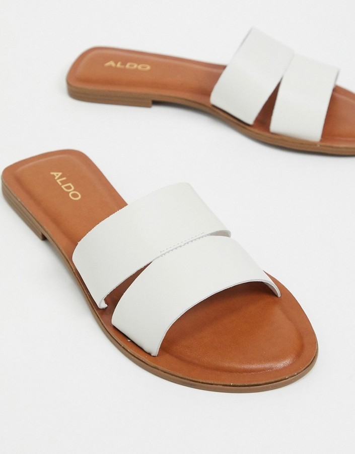 ALDO Andonia leather flat sandal in white