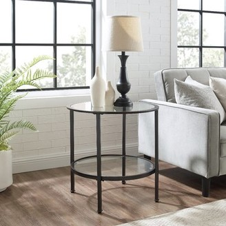 Three Posts Otha Glass Top End Table with Storage Table Base Color: Bronze