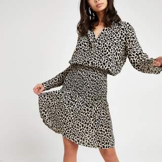 River Island Womens Black leopard print shirred shirt dress