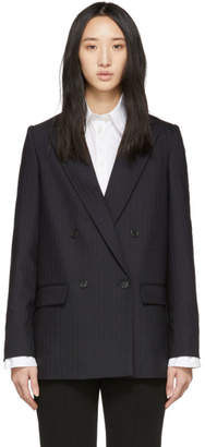 Stella McCartney Blue Pinstripe Wool Blazer