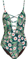 Mara Hoffman Cutout Printed Swimsuit - Army green