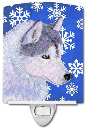 Caroline's Treasures Siberian Husky Snowflakes Holiday Ceramic Night Light