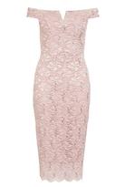 Quiz Pink Lace Sequin Bardot Neck Scallop Dress