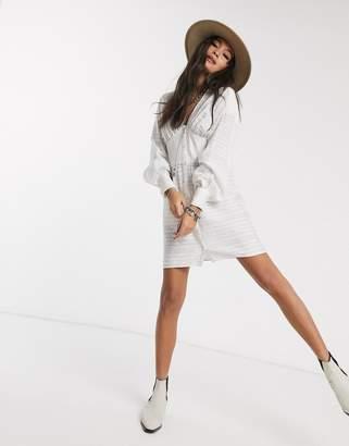 Asos Design DESIGN mini shirt dress with corset waist detail-White