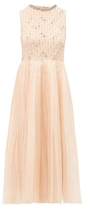 RED Valentino Crystal Embellished Silk Organza Dress - Womens - Light Pink