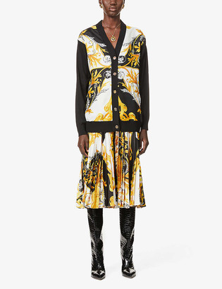 Versace Baroque-motif silk and cotton-blend cardigan