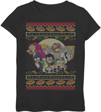 Licensed Character Girls 7-16 DC Comics Teen Titans Go! Pizza Friends Ugly Sweater Style Tee